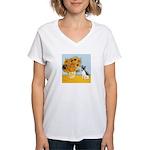 Sunflowers / Rat Terrier Women's V-Neck T-Shirt