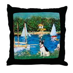 Sailboats / Rat Terrier Throw Pillow