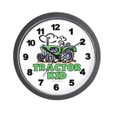 Green Tractor Kid Wall Clock