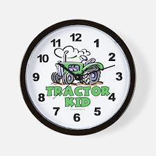 Green Tractor Kid Wall Clock