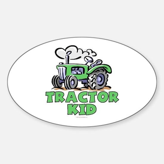 Green Tractor Kid Sticker (Oval)