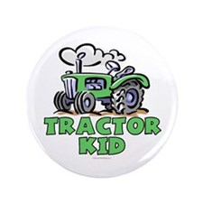 "Green Tractor Kid 3.5"" Button"