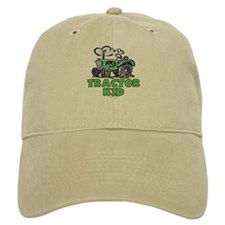 Green Tractor Kid Baseball Cap