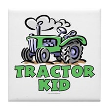 Green Tractor Kid Tile Coaster