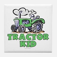 Green Tractor Kid Tile Coaster