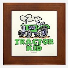 Green Tractor Kid Framed Tile