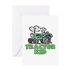 Green Tractor Kid Greeting Card