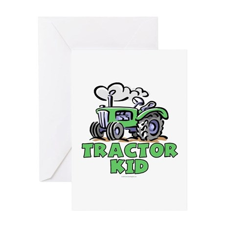Green Tractor Kid Greeting Card
