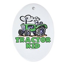 Green Tractor Kid Ornament (Oval)