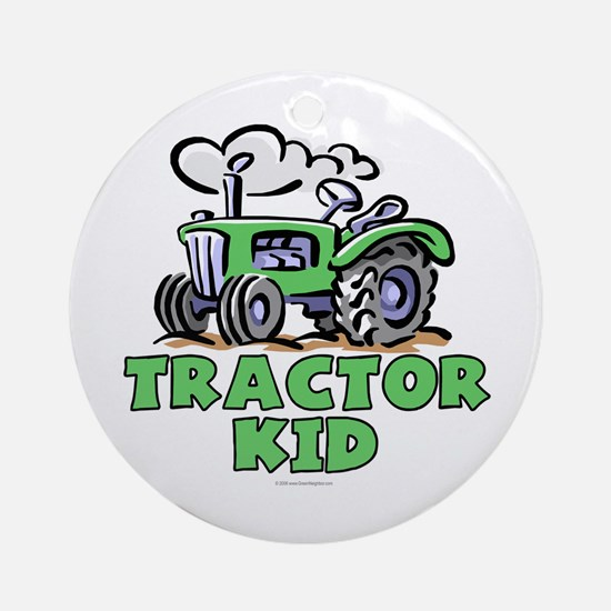Green Tractor Kid Ornament (Round)