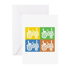 Tractor 4 Square Greeting Cards (Pk of 20)