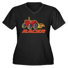 Tractor Racing Women's Plus Size V-Neck Dark T-Shi