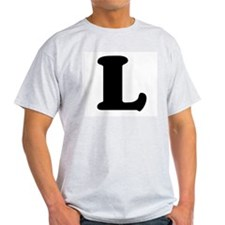 Large Letter L Ash Grey T-Shirt
