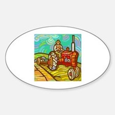Van Gogh Tractor Oval Decal