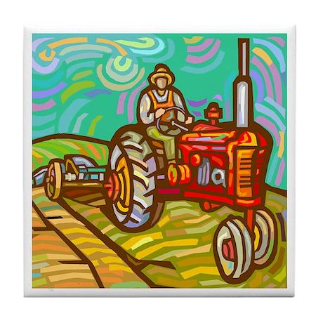 Van Gogh Tractor Tile Coaster