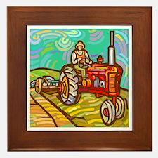 Van Gogh Tractor Framed Tile