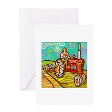 Van Gogh Tractor Greeting Card