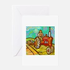 Van Gogh Tractor Greeting Card