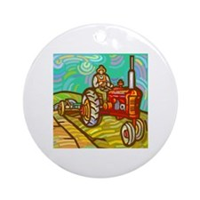 Van Gogh Tractor Ornament (Round)