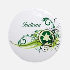 Indiana Recycle T-Shirts and Gifts Ornament (Round