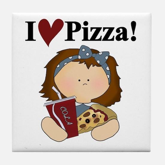 Girl I Love Pizza Tile Coaster