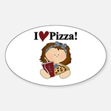 Girl I Love Pizza Oval Decal