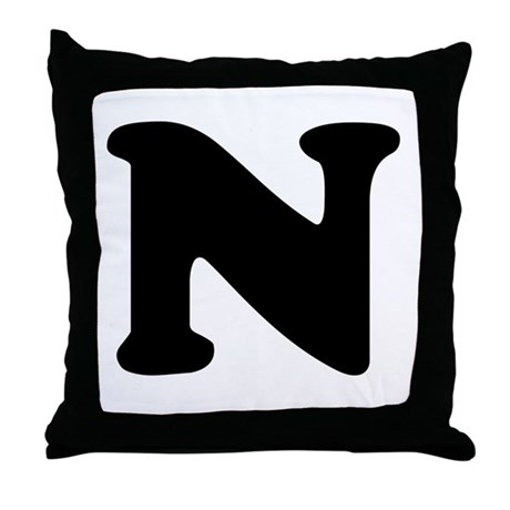 Large Letter N Throw Pillow