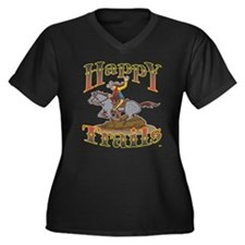 Happy Trails! Women's Plus Size V-Neck Dark T-Shir