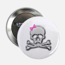 "Chrome skull with bow 2 2.25"" Button (10 pack)"