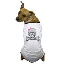 Chrome skull with bow 2 Dog T-Shirt
