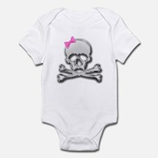 Chrome skull with bow 2 Infant Bodysuit