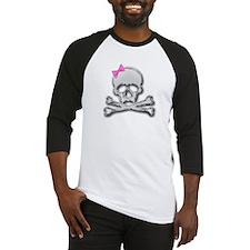 Chrome skull with bow 2 Baseball Jersey