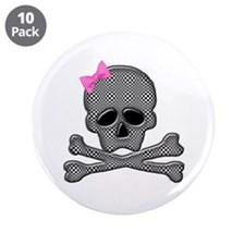 "Checkered skull with bow 3.5"" Button (10 pack)"