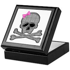 Checkered skull with bow Keepsake Box