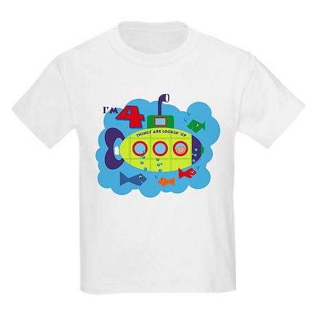 Submarine 4th Birthday Kids Light T-Shirt