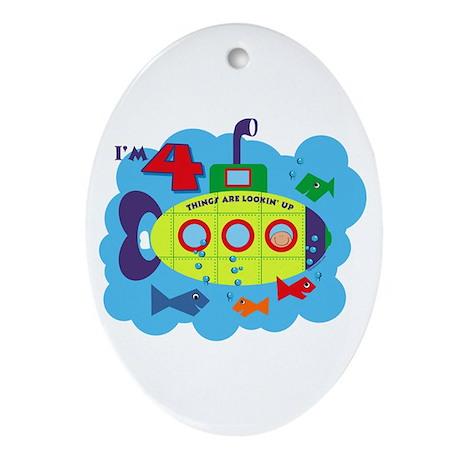 Submarine 4th Birthday Oval Ornament