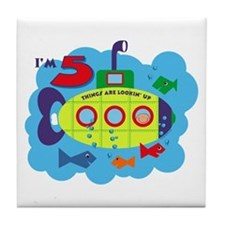 Submarine 5th Birthday Tile Coaster