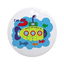 Submarine 5th Birthday Ornament (Round)