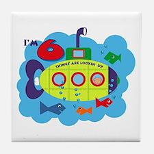 Submarine 6th Birthday Tile Coaster