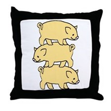 3 Little Pigs t-shirt shop Throw Pillow