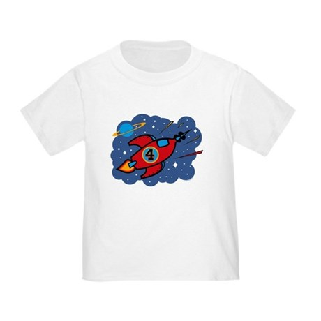 Rocket Ship 4th Birthday Toddler T-Shirt