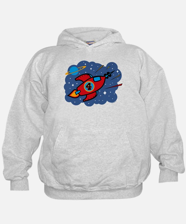 Rocket Ship 4th Birthday Hoodie