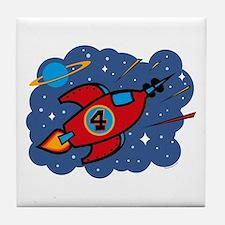 Rocket Ship 4th Birthday Tile Coaster