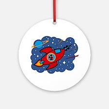 Rocket Ship 4th Birthday Ornament (Round)