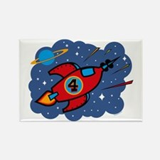 Rocket Ship 4th Birthday Rectangle Magnet