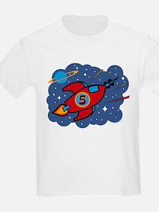 Rocket Ship 5th Birthday T-Shirt