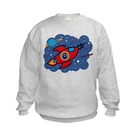 Rocket Ship 6th Birthday Kids Sweatshirt