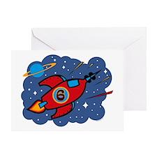 Rocket Ship 6th Birthday Greeting Card