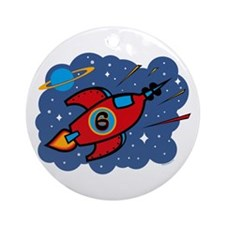 Rocket Ship 6th Birthday Ornament (Round)