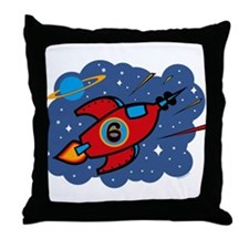 Rocket Ship 6th Birthday Throw Pillow